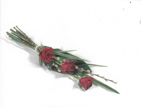 Funeral red rose tied spray